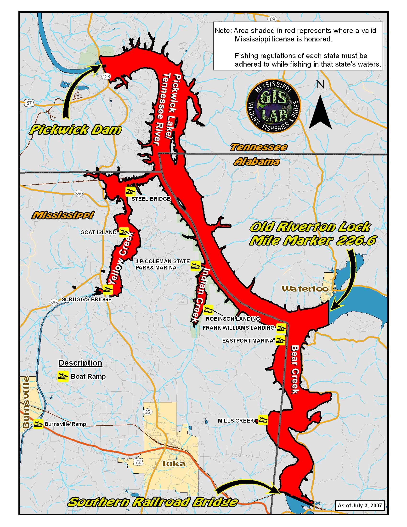 Popular 189 list pickwick lake map for Alabama state fishing license